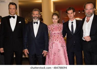 Mel Gibson, Teresa Palmer, Andrew Garfield, Vince Vaughn, Hugo Weaving  at the premiere of Hacksaw Ridge at the 2016 Venice Film Festival.September 4, 2016  Venice, Italy