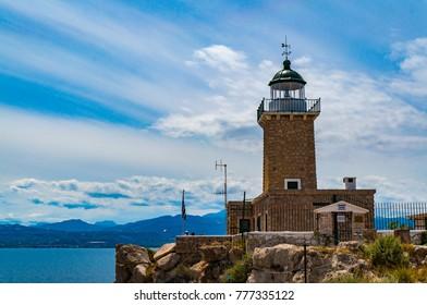 Melagavi lighthouse in Loutraki, Korinthos,  Greece