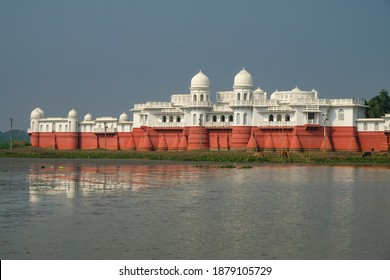 Melaghar, India - December 2020: Neermahal Palace located on an islet in Rudra Sagar Lake in Melaghar on December 17, 2020 in Tripura, India.