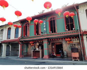 Melaka, Malaysia - 26th Jan 2019 - the colorful old buildings along the street in melaka - World Heritage City of Malaysia