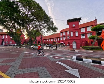 Melaka, Malaysia - 27th Jan 2019 - The Dutch Square, also called Red Square as all the surrounding buildings painted red, next to the Melaka river is a good starting point for visitors, Malacca