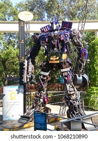 MELAKA, MALAYSIA, April 11, 2018 : Replica of transformers made by recyclable scrap metal. Located outside The Shore Melaka and listed as Tallest Robot Replica in Malaysia as high 5 meter.