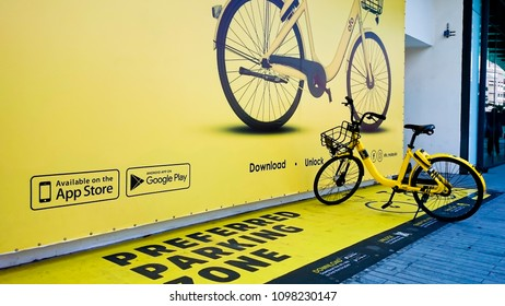 MELAKA MALAYSIA, April 13, 2018 : Preferred parking zone for OFO bicycle. OFO is one of rental bicycle service worldwide using mobile apps