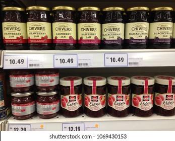 Melaka, Malaysia- April 14, 2018: Variety brands of jam on supermarket shelf.