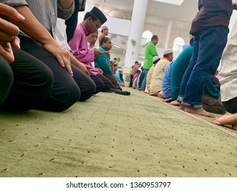 MELAKA, MALAYSIA- APRIL 5, 2019: The scenary of Friday prayers at Masjid Al Alami, Melaka. Muslims must pray (prayer) 5 times a day. Image contain certain grain or noise and soft focus.