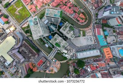 Melaka, Malaysia - Circa April, 2018: The top down view of the Swiss-Garden hotel in Melaka