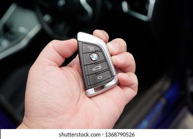 Melaka, Malaysia - Circa April, 2019: New BMW key fob.