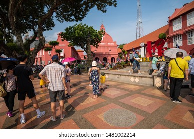 MELAKA, MALAYSIA - CIRCA AUGUST, 2019: The historical buildings in Malacca city, Malaysia. Malacca was declared as the UNESCO world heritage in 2008.