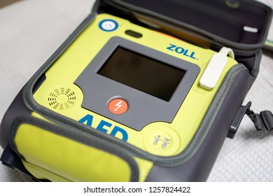 Melaka, Malaysia - Circa December, 2018: An emergency medical defibrillator known as Automated External Defibrilator or AED.