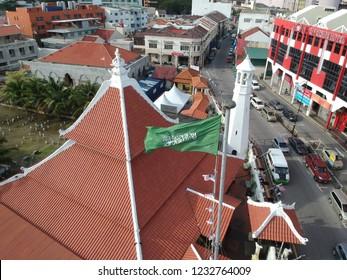 Melaka, Malaysia - Circa November, 2018: Aerial photo of the Kampung Hulu Mosque in Melaka Historical City Area