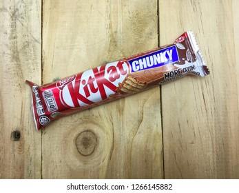 Melaka / Malaysia - December 25 2018 : Kitkat Wafer Finger in Milk Chocolate.