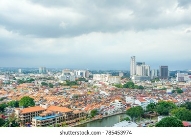 Melaka, Malaysia, December 31 2017 - view from above of Malacca city.