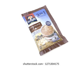 Melaka / Malaysia -  December 31 2018 : Quaker 3 in 1 Oat Chocolate Cereal Drink on white background.