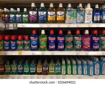 MELAKA, MALAYSIA - FEB 2, 2018: Various of Listerine product displayed at supermarket. Listerine is an American brand of antiseptic mouthwash product, founded in 1879, in St. Louis, Missouri.