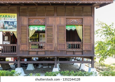 Melaka, Malaysia - Feb 25, 2019 : The Hang Tuah Centre in Kampung Duyong, Melaka. Interesting traditional malay house architecture and design.