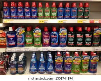 MELAKA, MALAYSIA - FEBRUARY 1, 2019: Colgate Plax Mouthwash on supermarket shelf. Colgate offering a diverse range of oral hygiene product that sold worldwide