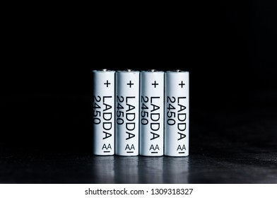 MELAKA, MALAYSIA - FEBRUARY 10, 2019 : IKEA LADDA rechargeable batteries AAA size. Batteries can be used for all kind of products, such as MP3 players, cameras, toys, clocks and remote controls