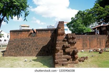 MELAKA, MALAYSIA - FEBRUARY 12: Dutch Fort at February 12, 2019 in Melaka, Malaysia. Melaka was a Dutch colony before.