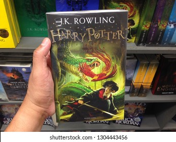 MELAKA, Malaysia - FEBRUARY 4, 2019 : Close up view of  HARRY POTTER book by JK ROWLING for sell in the book stores
