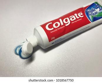 Melaka, Malaysia - February 5, 2018: Colgate, the famous toothpaste company in Malaysia, provide oral hygine.