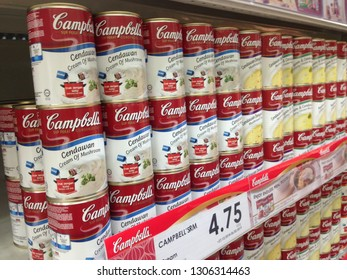 MELAKA, MALAYSIA - FEBRUARY 6, 2019 :Close up image of Campbell's Mushroom Soup cans  on the supermarket shelf. Campbell's, is an American producer of canned soups