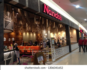 MELAKA, MALAYSIA: FEBRUARY 6, 2019: Nando's is an international casual dining restaurant chain originating from South Africa, with a Mozambican/Portuguese theme, founded in 1987.