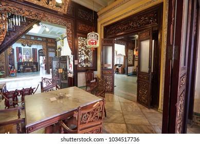 MELAKA, MALAYSIA - JAN 18, 2018: Interior of the Baba Nyonya Heritage Museum