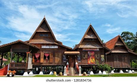 MELAKA, Malaysia - JANUARY 12, 2019 : The Jebat House or Rumah Jebat inside the Hang Tuah Center in Kampung Duyong, Melaka.