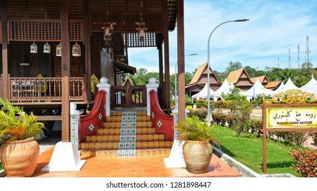 MELAKA, Malaysia - JANUARY 12, 2019 : The Kasturi House or Rumah Kasturi inside the Hang Tuah Center in Kampung Duyong, Melaka.