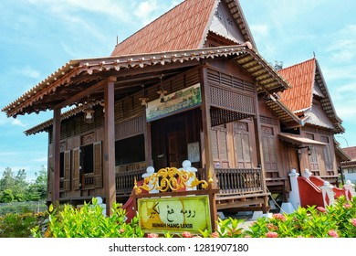 MELAKA, Malaysia - JANUARY 12, 2019 : The Lekir House or Rumah Lekir inside the Hang Tuah Center in Kampung Duyong, Melaka.