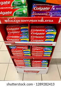 Melaka, Malaysia. January 19, 2019: Colgate toothpaste manufactured by the American consumer-goods conglomerate Colgate-Palmolive, Colgate oral hygiene products.