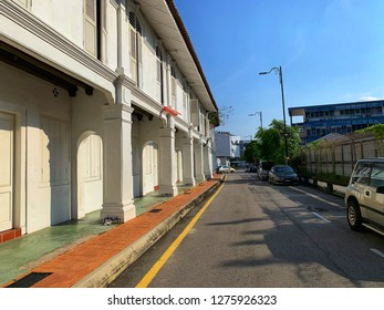 """Melaka, Malaysia - JANUARY 6, 2018: Scenery of the famous street, """"Jonker Street Market"""" with many old vintage architecture buildings in morning that have nobody."""