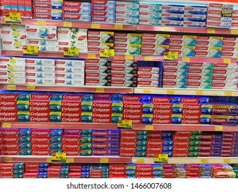Melaka, Malaysia. July 29, 2019: Colgate toothpaste manufactured by the American consumer-goods conglomerate Colgate-Palmolive, Colgate oral hygiene products.