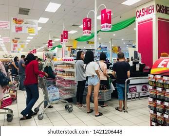 Melaka. Malaysia. Jun 2019. People queued at shopping mall