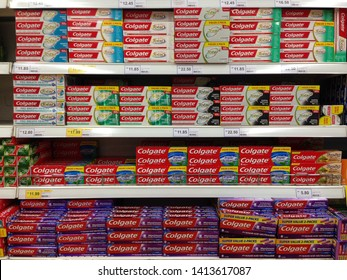 MELAKA, MALAYSIA - JUNE 1, 2019: Colgate, a brand of oral hygiene products such as toothpastes, toothbrushes, mouthwashes and dental floss produced by American consumer-goods company Colgate