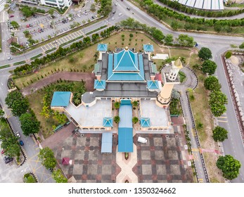MELAKA, MALAYSIA - MARCH 26, 2019: Aerial view of Al-Alami Mosque in International Trade Center (MITC) Melaka.