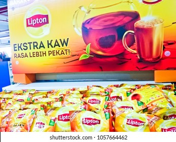 MELAKA, MALAYSIA, NOVEMBER 23, 2018 : A package of Lipton tea display at market. Lipton is a most famous tea brand at Malaysia and the world