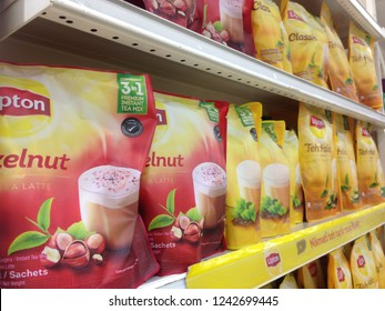 MELAKA, Malaysia -  November 27, 2018 : Assorted a packed of LIPTON Tea display for sell in the supermarket shelf.