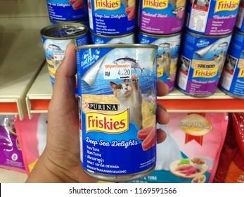 MELAKA, MALAYSIA - SEPTEMBER 1, 2018 : Friskies at the hypermarket in Kuala Lumpur, Malaysia. Friskies is owned by Nestle Purina PetCare Company, a subsidiary of Nestle.