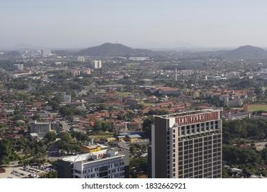 Melaka, Malaysia-January 10, 2020; aerial view of Melaka historic city