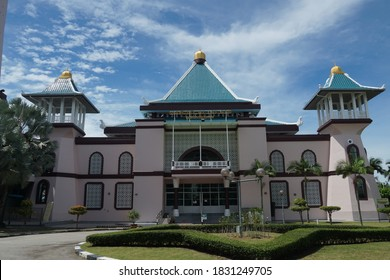 Melaka, Malaysia-October 11, 2020; Al-Alami Mosque, located at Ayer Keroh, Melaka