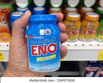 Melaka, Malaysia-SEPTEMBER 1, 2018: Close up view of Eno bottle with fruit salt flavour for relieving indigestion on supermarket store. Product by Glaxosmithkline company