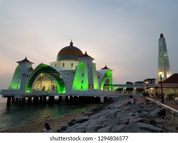 The Melaka Straits Mosque (Masjid Selat Melaka) is a mosque located on the man-made Malacca Island in Malacca City, Malacca, Malaysia