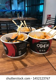 Melaka/Malaysia - July 15,2019 : A bowls of Oden with their condiment