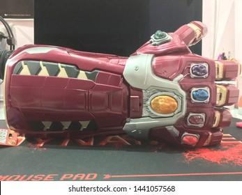 Melaka/Malaysia - July 3,2019 : Unboxing Avengers Endgame power gauntlet toy by Hasbro