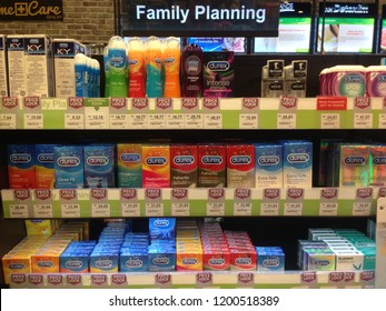 MELAKA,Malaysia- OCTOBER 11, 2018 : Durex range of condoms and lubricant. Durex is the trademarked name for a range of condoms that were made by SSL international