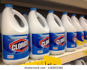 MELAKA,MALAYSIA : SEPTEMBER 18, 2018. Bottles of Corox Bleach on store shelves. Clorox is an American Company founded in 1913
