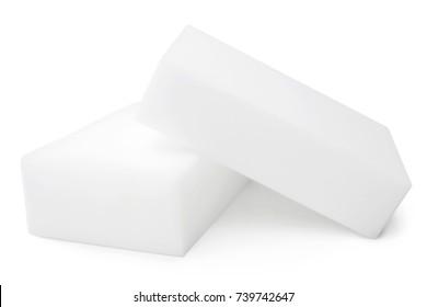 Melamine sponges on white background