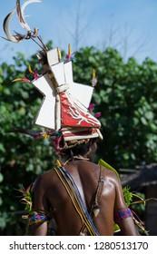 Melanesia, Papua New Guinea, Bismarck Sea area, Tuam Island, Tuam village. Traditional village sing-sing. Male dancer in costume with elaborate headdress.