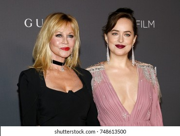 Melanie Griffith and Dakota Johnson at the 2017 LACMA Art + Film Gala Honoring Mark Bradford And George Lucas held at the LACMA in Los Angeles, USA on November 4, 2017.